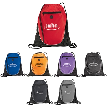 Polyester Multi Color The Peek Drawstring Cinch Backpack 14'' X 17''