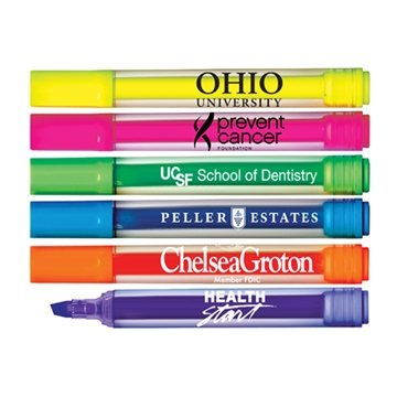 Brite-Spots® Clear Barrel Jumbo Fluorescent Highlighters with Broad Chisel Tip - USA Made