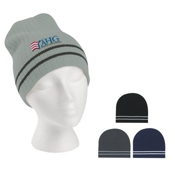 Ribbed Knit Beanie With Double Stripe