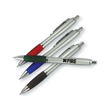 Euro Silver Barrel Color Grip Click Ballpoint Pen