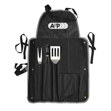 4 Piece Barbeque (BBQ) Apron with Tongs, Spatula, and Fork