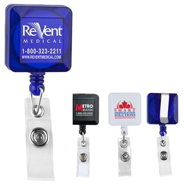 30'' Cord Square Retractable Badge Reel with Metal Slip Clip Backing