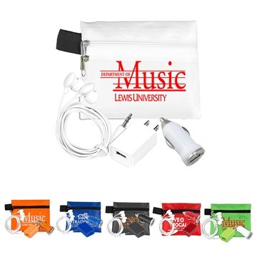 Mobile Tech Auto and Home Charging Kit with Earbuds in Polyester Zipper Pouch
