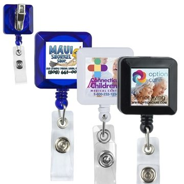 30'' Cord Square Retractable Badge Reel and Badge Holder with Metal Rotating Alligator Clip Backing
