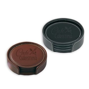 Leather Coaster Gift Set