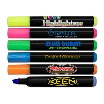 Brite Spots® Black Barrel Jumbo Fluorescent Highlighters - Full Color Decal Print