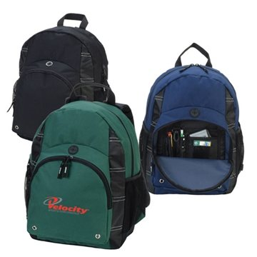 Polyester Backpack with Zippered Main Compartment