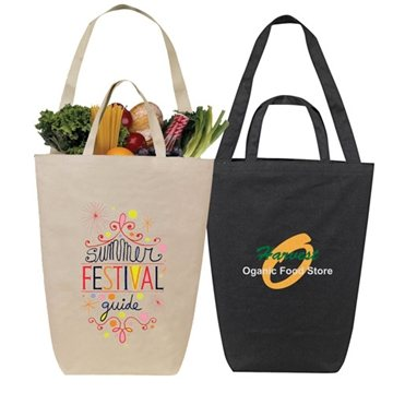 Solid Color Dual Handle Canvas Shopping Tote