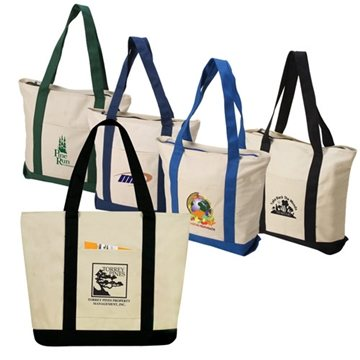 Two-Tone Zippered Canvas Boat Tote