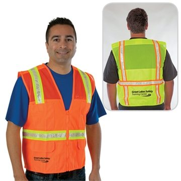 Traditional Surveyor Safety Vest, Mesh Top & Solid Bottom