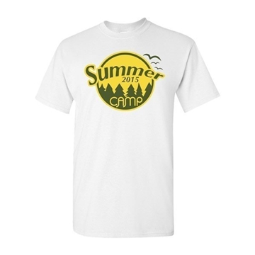 Gildan - Up To 2 Color Imprinted On One Location White T-Shirt