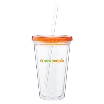 16 oz Spirit Tumbler With Color Lid - Tangerine