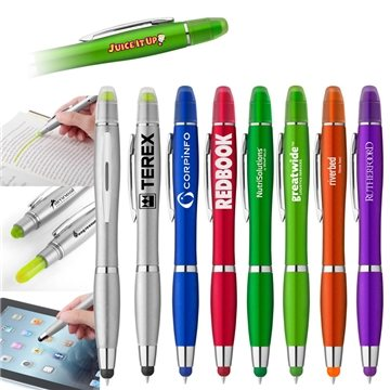 Curvaceous Metallic Stylus Highlighter Pen