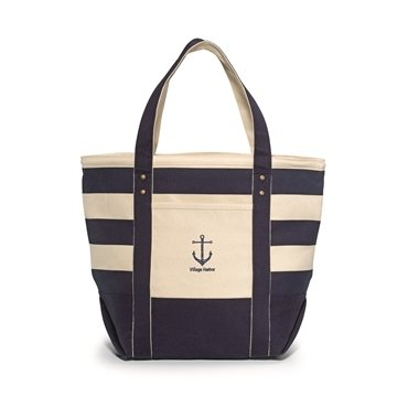 Seaside Zippered Cotton Tote - Navy Blue Striped
