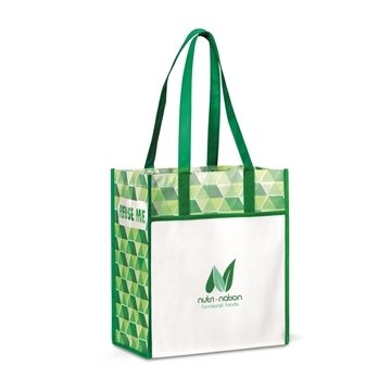 Horizons Laminated Shopper - Kelly Green/ Pattern