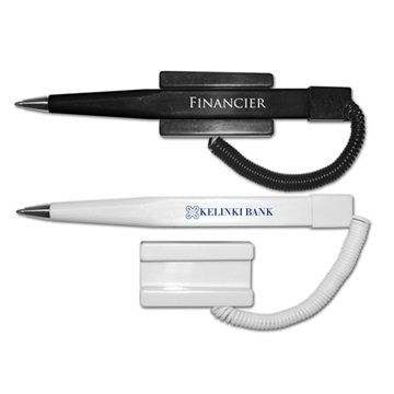 Financier Ball Point Pen with Coil Cord and Stick On Base