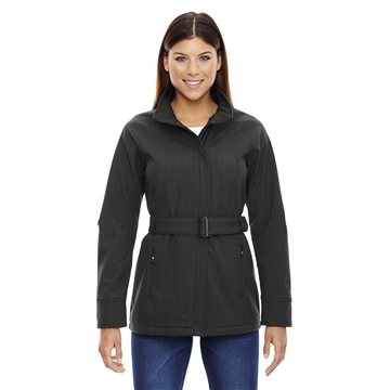 North End Sport Blue Ladies' Skyscape Three-Layer Textured Two-Tone Soft Shell Jacket