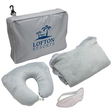 3-Piece Travel Set Pillow, Blanket & Eye Mask Set