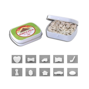 2 3/8'' Mini Hinged Tin with Shaped Mints