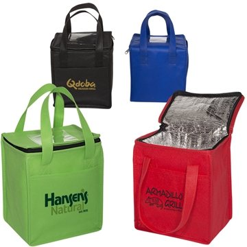 Non-Woven Cubic Lunch Bag W/ Id Slot