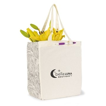 Chelsea Cotton Market Tote - Ivory/Black