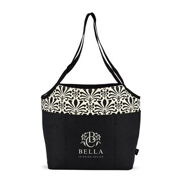 Tori Cotton Fashion Tote - Black Damask Pattern