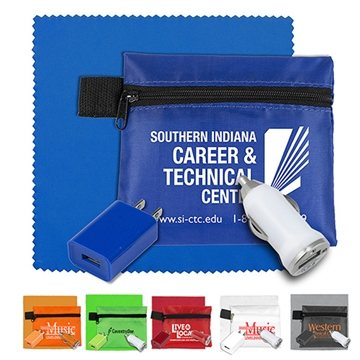Mobile Tech Auto and Home Charging Kit with Microfiber Cleaning Cloth in Polyester Zipper Pouch