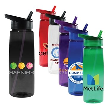 30 oz Poly-Saver PET Bottle with Straw Cap, Full Color Digital