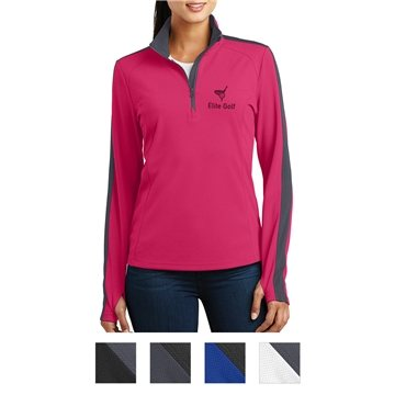 Sport-Tek® Ladies' Sport-Wick® Textured Colorblock 1/4-Zip Pullover