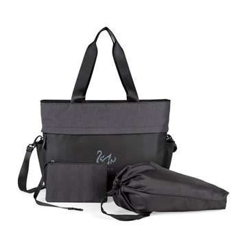 Life in Motion™ All Day Deluxe Computer Tote - Black/Charcoal Heather