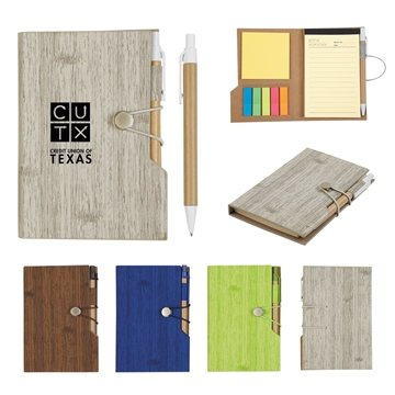 4'' x 6'' Woodgrain Look Notebook With Sticky Notes And Flags