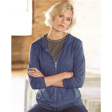 Anvil - Triblend Women's Hooded Full-Zip T-Shirt