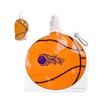 HydroPouch!™ 24 oz Basketball Collapsible Water Bottle - Patented