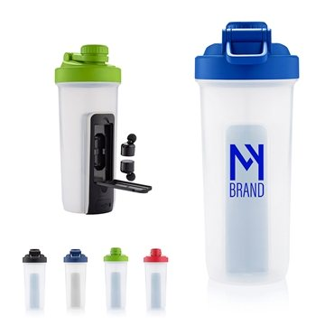 20 oz Shaker Fitness Bottle with Bluetooth® Earbuds