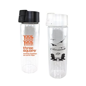 20 oz Durable Clear Glass Bottle with Flip Top Lid