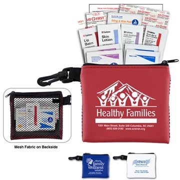 """Team Mom"" 21 Piece All Purpose First Aid Kit in Zipper Mesh Pouch"