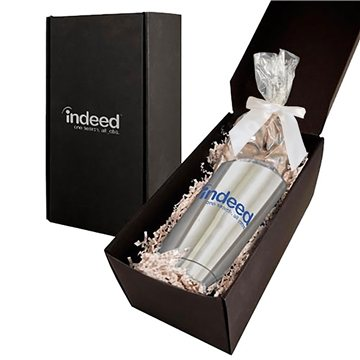 Soft Touch Gift Box With Vacuum Tumbler And Dark Chocolate Almonds Mug Drop