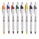 Promotional White pen with colorful trim