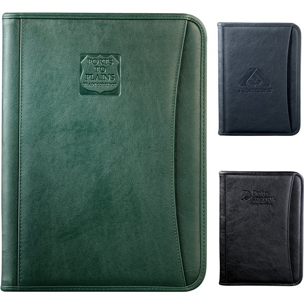 Promotional Durahyde Zippered Padfolio With 8.5*11 Writing Pad Front Slot Pocket Black