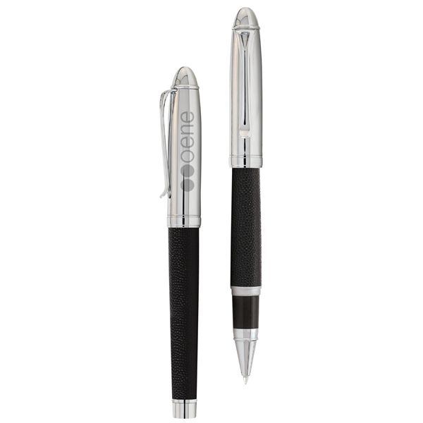 Promotional Leather Rollerball Refillable Pen Black Ink