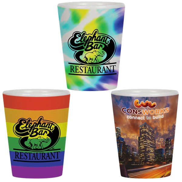 Promotional 1.5 oz Full Color Collector Cup / Ceramic Shot