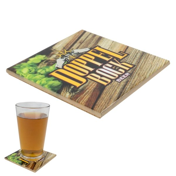 Promotional 4-1/4 Sq. Ceramic Coaster with Gloss Finish