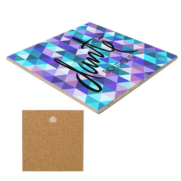 Promotional 6 Sq. Ceramic Trivet with Gloss Finish