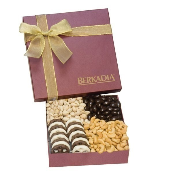 Promotional The Chairman Gift Box - Chocolate Covered Almonds, Cashews, Pistachios, Mini Chocolate Pretzels