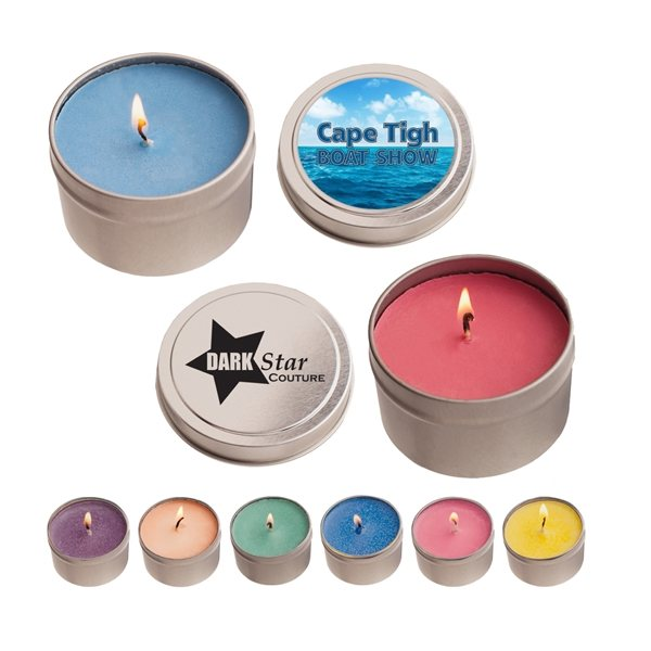 Promotional 4 oz Round Tin Soy Candle