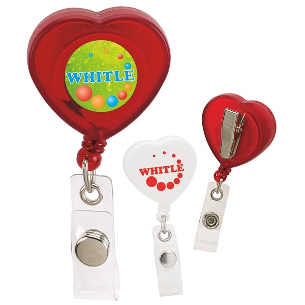 Promotional Caring Heart Retractable Badge Holder