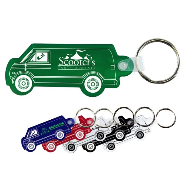 Promotional 2-3/4 W x 1-1/4 H Plastic Van Shaped Key Fob