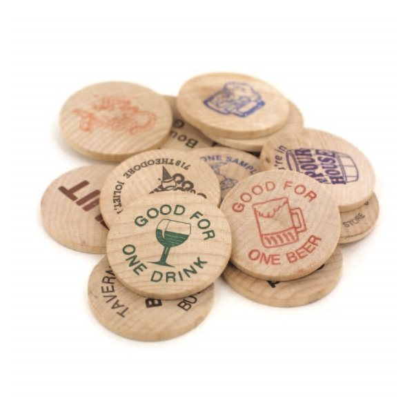 "1-1/2"" Natural Wood Wooden Nickel"