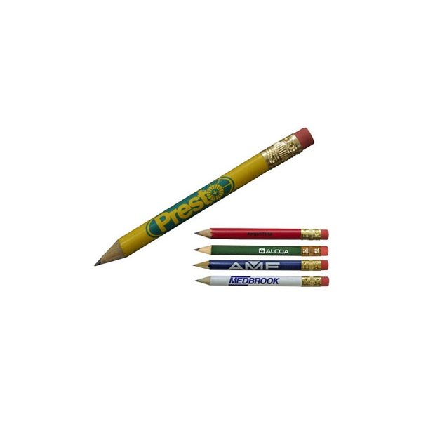 Promotional Round Golf Pencil with Erasers