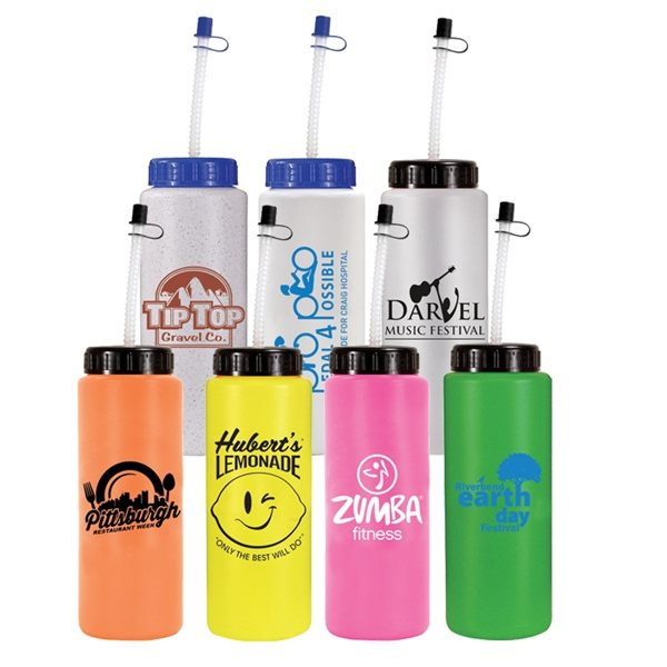 Promotional 32 oz Sports Bottle with Flexible Straw - BPA Free